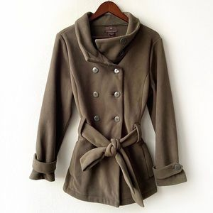 Fenn Wright Manson Army Green Belted Peacoat